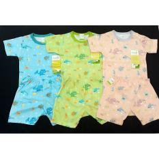 Baju Bayi 3 Stel Oblong Pendek Kancing Pundak By Velvet Junior