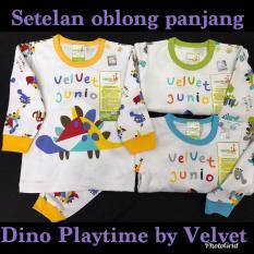 Baju Bayi 3 Stel Velvet Playfull Dino Playtime oblong Panjang Kancing Pundak