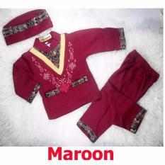 Baju Koko Bayi Setelan Baju Muslim Bayi Terlaris - Trend Wish - Maroon - M - (estimasi 12-18 Bulan)