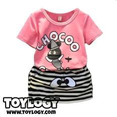 Baju Setelan Kaos Ann Baby ( Chocoo Crew Pink Suit)