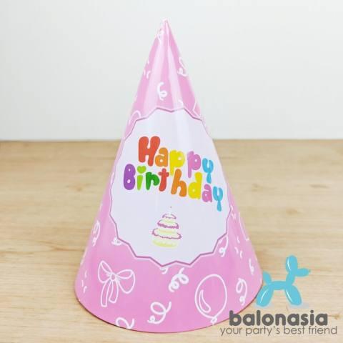 Balonasia Topi Ulang Tahun Happy Birthday Pink