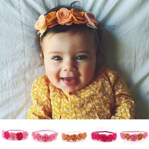 Beauty Bunga Elastis Ikat Kepala Rambut Tali Hiasan Kepala untuk Bayi Perempuan Yang Baru Lahir Balita-Internasional 1