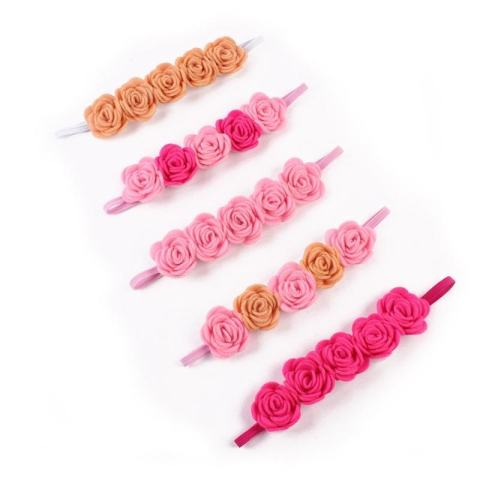 Beauty Bunga Elastis Ikat Kepala Rambut Tali Hiasan Kepala untuk Bayi Perempuan Yang Baru Lahir Balita-Internasional 3