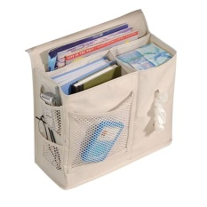 Bedside Storage Bag Hang Sundries ,Magazines, Phone,Tissue Holder Sofa Organizer Book TV Remote Control Caddy - Beige - intl