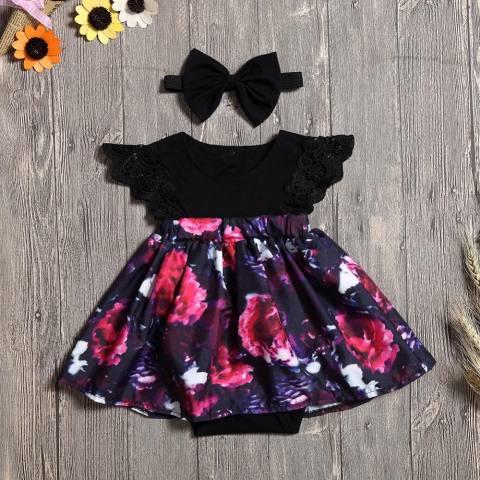 Besar Sister Outfit, Bayi Gadis Baju Monyet Gaun, 2 Pcs Balita Bunga Gaun Ayun Spesifikasi: sedikit Sister Ukuran: Delapan-Internasional 1