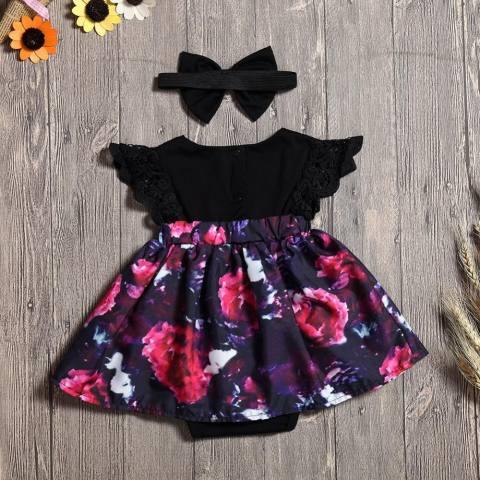Besar Sister Outfit, Bayi Gadis Baju Monyet Gaun, 2 Pcs Balita Bunga Gaun Ayun Spesifikasi: sedikit Sister Ukuran: Delapan-Internasional 2