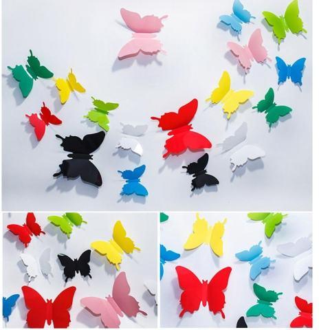 # Hitam 12 Pcs 3D Butterfly Stiker Dinding dan Kulkas Stiker Dekorasi Rumah Di Seni Stiker Tembok Mural untuk Kreatif Vintage Elektronik Rumah Tangga Kamar Anak-anak -Intl 2