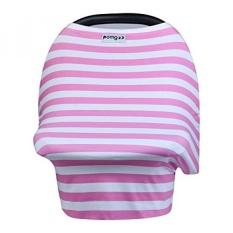 Menyusui Cover-Stretchy Infinity Nursing Scarf untuk Stroller, Baby Car Seat Canopy, Keranjang Belanja, Tinggi Penutup Kursi dan Selendang untuk Anak Perempuan dan Anak Laki-laki-Berwarna Merah Muda dan Putih-Internasional