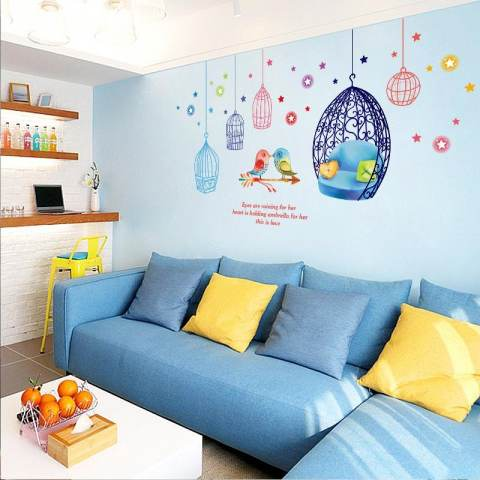 Kandang And Burung Removable PVC Dinding Stiker Living Room Decal, Ukuran: 50x70 Cm 2