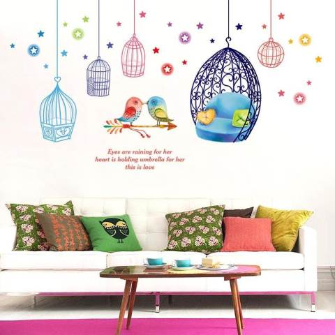 Kandang And Burung Removable PVC Dinding Stiker Living Room Decal, Ukuran: 50x70 Cm 4