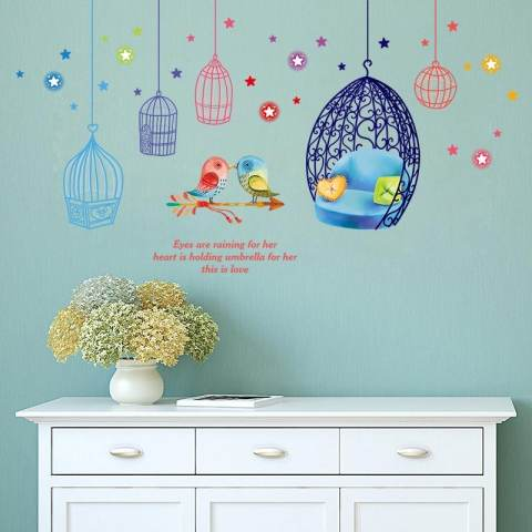 Kandang And Burung Removable PVC Dinding Stiker Living Room Decal, Ukuran: 50x70 Cm 3