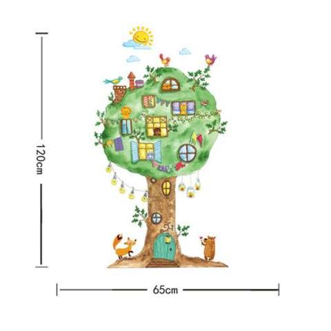 Kartun Pohon Besar Animals Kingdom Paradise Birds Lions Wall Sticker Decal Home Kertas PVC Mural Rumah Wallpaper Kamar Tidur Anak-anak Babys Living Room Gambar Seni Dekorasi-Intl 4