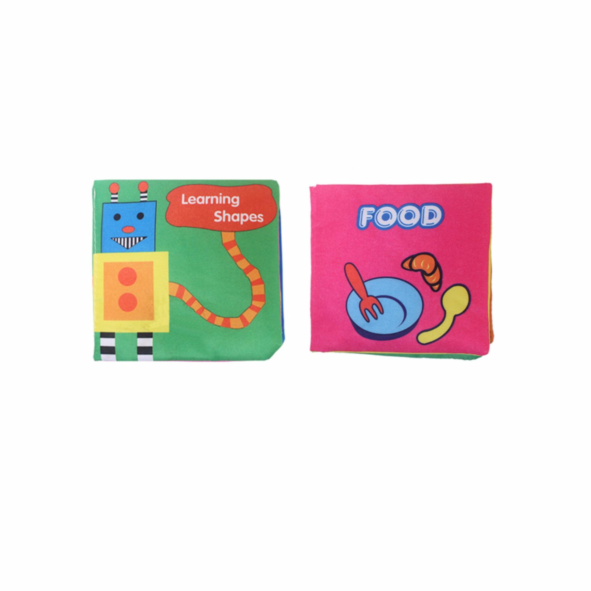 EELIC AYI-BU01 1 SET = 2 PCS SHAPES & FOOD BABY BOOK MAINAN BUKU BAYI KAIN