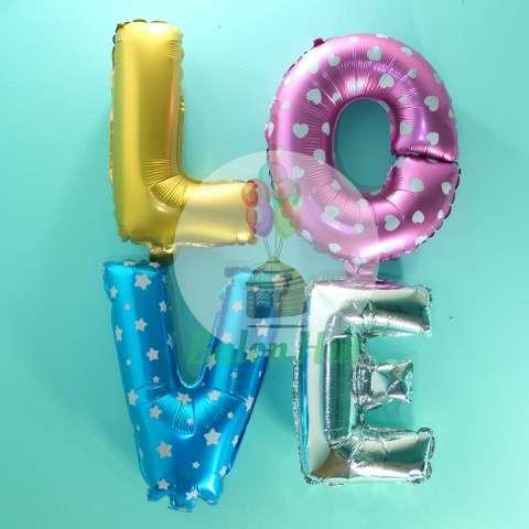 Foil Balon Huruf LOVE – Gold Pink Biru Silver
