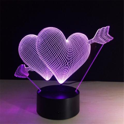 Ide Hadiah untuk Pacar Kreatif 3D Lampu Ilusi Cinta Lednightlights Ganda Jantung Romantis Pencahayaan Switch + Remotecontrolcolorful Atmosfer Lampu Baru lampu-Intl 3