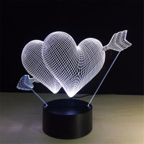 Ide Hadiah untuk Pacar Kreatif 3D Lampu Ilusi Cinta Lednightlights Ganda Jantung Romantis Pencahayaan Switch + Remotecontrolcolorful Atmosfer Lampu Baru lampu-Intl 2
