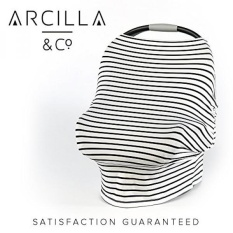 GPL/ Arcilla & Co Stretchy Baby Car Seat Cover for Boys and Girls, Infant Car Seat Canopy, Fall Winter Spring Summer, Snug Breathable, One Size Fits All, Black White Stripe Premium Material/ship from USA - intl