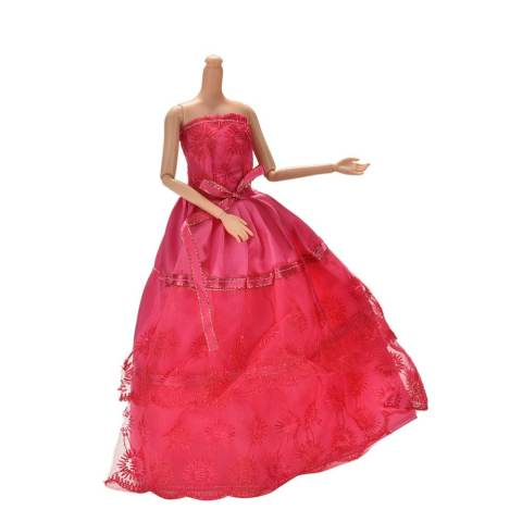 Handmade Beautiful Wedding Embroidery 2 Layers Rose Dress for 11 Barbies - intl 2