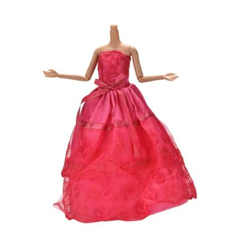 Handmade Beautiful Wedding Embroidery 2 Layers Rose Dress for 11 Barbies - intl 3