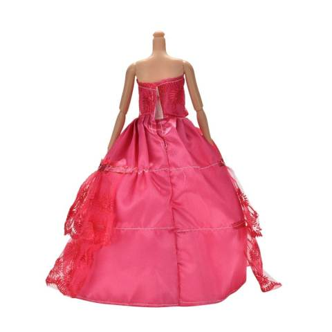 Handmade Beautiful Wedding Embroidery 2 Layers Rose Dress for 11 Barbies - intl 4