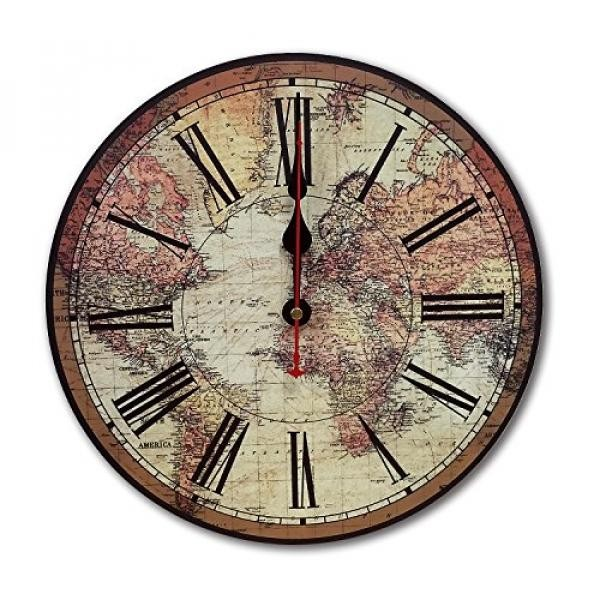 iCasso World Map Vintage French Country Tuscan Style Non-Ticking Silent Wood Wall Clock (12 inch World Map) - intl