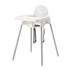 Ikea Antilop - Kursi Tinggi Makan Anak Dengan Baki - Putih Silver