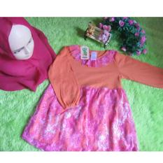 kembarshop - Gamis Bayi 0-1th Brocade Renda Orange Pink Cantik Plus Khimar