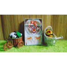 kembarshop - Paket Kado Koko Bayi 0-12bulan Putih Sablon Plus Peci