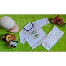 kembarshop - Set Baju Koko Bayi 0-12bulan Putih List Plus Peci (Warna List Random)