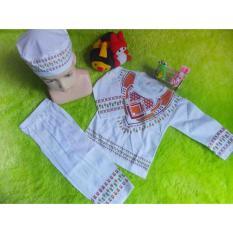 kembarshop - Setelan Baju Koko Bayi 0-12 Bulan Lembut Putih Sablon Plus Peci Sablon