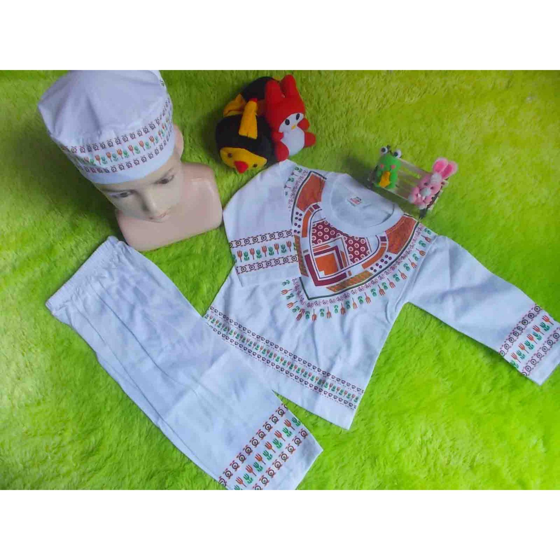 motif sablon random kembarshop - Setelan Baju Koko Bayi 0-12 Bulan Lembut Putih Sablon Plus Peci Sablon