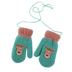 Kids Baby Boys Girls Winter Warm Knitting Fashion Halter Cute Elk Pattern Mittens Gloves Color:Sky blue Size:free size
