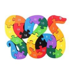 Anak Anak Blok Kayu Mainan Alphabet Number Building Jigsaw Puzzle Snake Shape-Intl