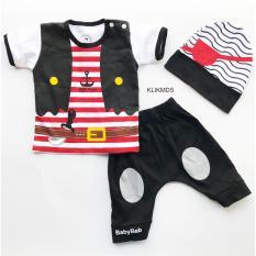 Klik Mds Baju Anak Setelan Atasan dan Celana Motif Karakter Little Pirates / Bajak Laut - Free Topi