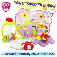 KokaPlay Premium Baby Rattle 4 in 1 Play Set Mainan Anak Bayi Kerincingan Soother Teether Gigitan Bayi + Free 1 Tas