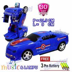 KokaPlay Robocar Transformable Bump And Go Robot Car Transformers Mainan Robot Mobil Berubah Superhero BumbleBee Captain