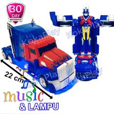 KokaPlay Robot Super Change Truck 2 in 1 Bump And Go Transformers Optimus Prime Mainan Anak Mobil Truck Robot Berubah Musik Lampu