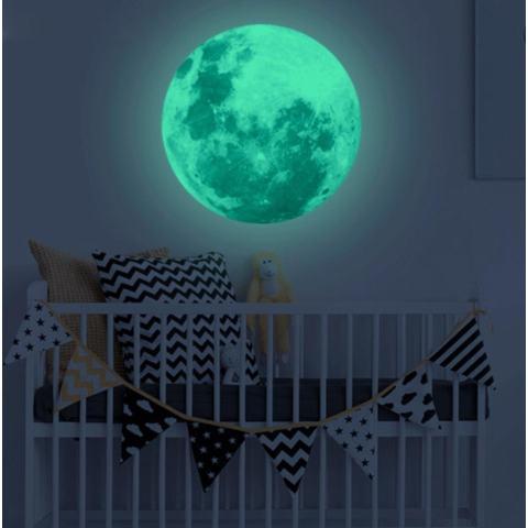 Leegoal Dapat Dilepas 30 Cm Bulan Bintang Glow In The Dark Sticker, malam Bercahaya Dinding Kamar Anak-anak Stiker Tempel untuk Simulasi Anak-anak Ideal Dekorasi atau Orang Dewasa, Hadiah Yang Sempurna Anak Laki-laki Perempuan, Green-Intl 3