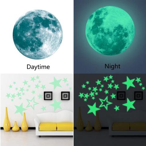 Leegoal Dapat Dilepas 30 Cm Bulan Bintang Glow In The Dark Sticker, malam Bercahaya Dinding Kamar Anak-anak Stiker Tempel untuk Simulasi Anak-anak Ideal Dekorasi atau Orang Dewasa, Hadiah Yang Sempurna Anak Laki-laki Perempuan, Green-Intl 1