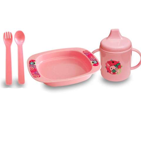 Lusty Bunny Tempat makan Bayi Plate Set 5in1 Tipe B Peralatan makan Bayi