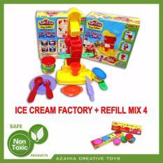 MAINAN ANAK EDUKASI FUN DOH ICE CREAM FACTORY (Bundle With REFILL FUN DOH MIX 4)