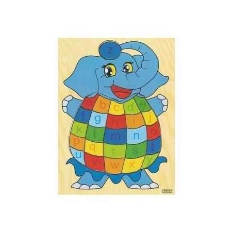 Mainan Edukatif / Edukasi Anak - Puzzle Kayu Gajah Sirkus Huruf Kecil