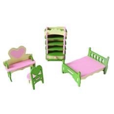 Mini Wooden Dollhouse Bedroom Furniture Kid Children Toy Set D - intl