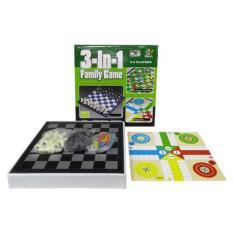 MOMO Toys Mainan 3 in 1 Family Game - Mainan Catur,Ular Tangga Dan Flaying Chess