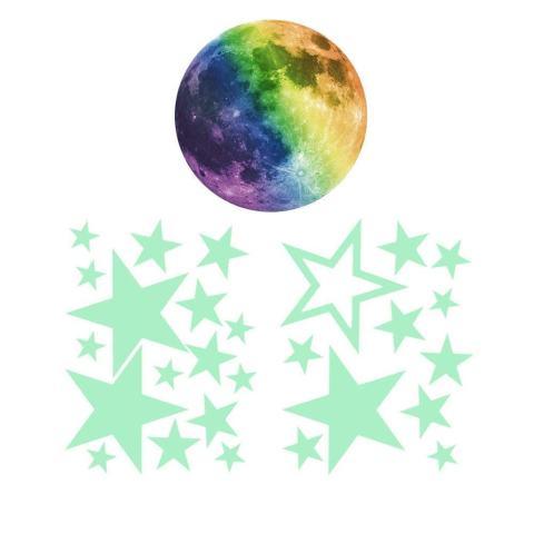 Moob Dilepas 30 Cm Moon Stars Glow In The Dark Sticker, Night Luminous Kids Room Wall Decal Stiker untuk Simulasi Ideal Dekorasi Anak-anak atau Orang Dewasa, Hadiah Sempurna Anak Laki-laki Perempuan, Hijau Muda-Internasional 1