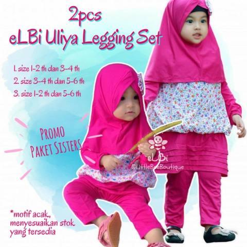 Paket Sisters Elbi Uliya Legging Set / Setelan Baju Muslim Anak Perempuan by Little Bee Boutique