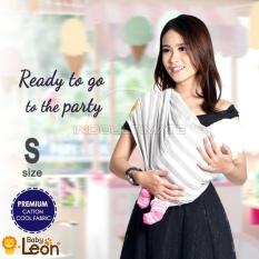PREMIUM GEOS Gendongan Kaos Baby Leon/Selendang Katun/Slendang Bayi Motif Lucu BY 48 GB Ukuran S - STRIP BESAR GRAY