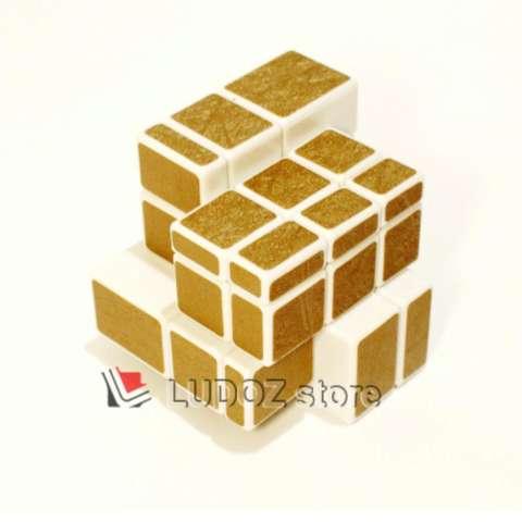 Rubik MIRROR 3x3 White Base Stiker GOLD SOFT Texture, ORI Dian Sheng 3x3x3 Magic Cubic