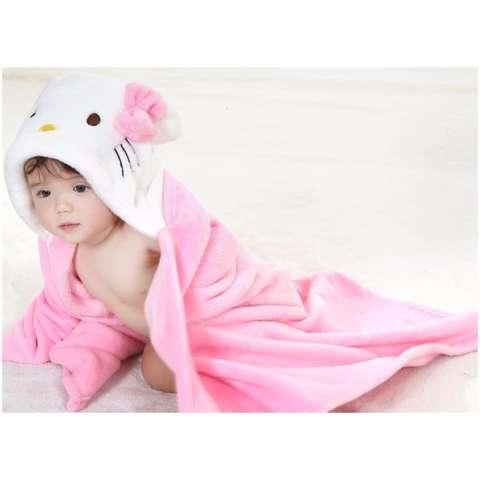 Selimut Topi Double Fleece Selimut Hoodie Bulu Bayi 3D Hoodie Blanket Tudung Hello Cat Kitty Kostum