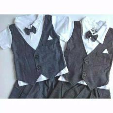 Set Rompi Tuxedo Polos -  hitam- -  Little Gentlement Dasi Baju Anak Cowok Baju Bayi Grosir